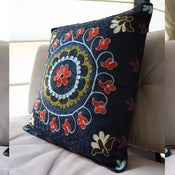 Image of Silk and Cotton Embroidered Uzbek Cushion Cover 44 x 44 cm