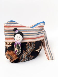 Image of Half Moon Pouch with Peranakan Woman Dolly-Dark. MPH0907