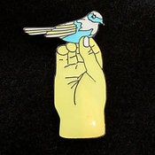 Image of Bird in Hand Enamelled Brooch