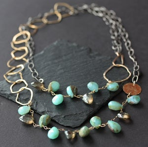 Image of NEW - Long Asymmetrical Gemstone Necklace - Peruvian Blue Opal