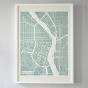 Image of Mint Silk-Screen Printed Map of Portland