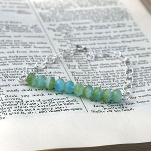 Image of (SOLD) Ocean Green-Blue Beaded Bracelet on Sterling Silver