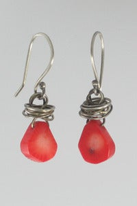 Image of Bamboo Coral Bead Drop Earrings