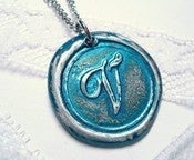 Image of Metallic Teal Wax Seal Pendant Necklace by Ritzy Misfit