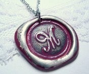 Image of Fushia Wax Seal Pendant Necklace By Ritzy Misfit
