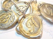Image of Gold Painted Wax Seal Pendant Necklace