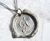 Image of White Painted Wax Seal Pendant Necklace by Ritzy Misfit