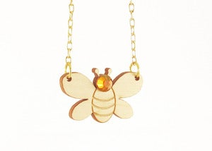 Image of Bumble Bee Necklace [Wood or Yellow Mirror]