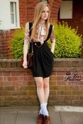 Image of Miss Patina Strap Skirt with Button and Chain Details