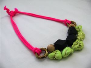 Image of neon pink + yellow nugget necklace