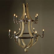 Image of Wine Barrel Chandelier- 12 Light