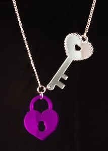 Image of Lock & Key Necklace - Purple
