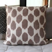 Image of Brown Dot Uzbek Ikat, Silk and Cotton Cushion Cover, Pillow, 45 x 45 cm, 18 inch