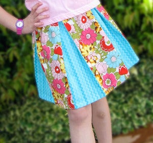 Image of Pleated Skirt Sewing Pattern Tutorial PDF toddlers and girls 2 to 8