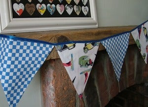 Image of Powell Craft Transport Print and Gingham Check Bunting