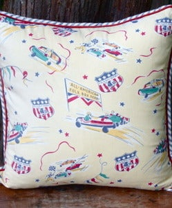 Image of Folk Box Derby Vintage-y Pillow