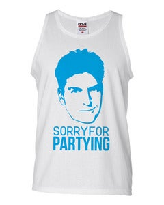 Image of Sorry for Partying Charlie Sheen Tank Light Blue
