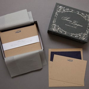 Image of Letterpress Whale Deluxe Kraft Note Cards