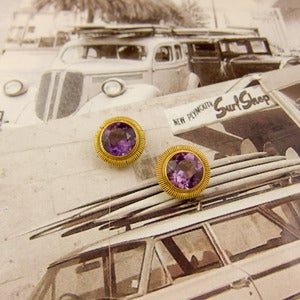 Image of Gold Amethyst Button Earrings