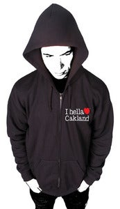 "Image of ""I hella Love Oakland""-Zip up Hoodie-Black"