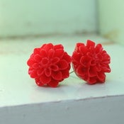 Image of Blooming Studs - Darling Dahlias in Cherry Red