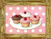 Image of Gilded Sweetness Cherry Cupcakes within faux painted frame