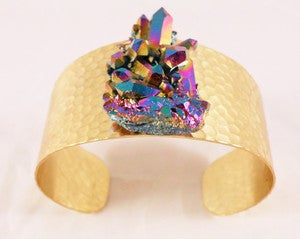 Image of Dark Matter Quartz Brass Cuff