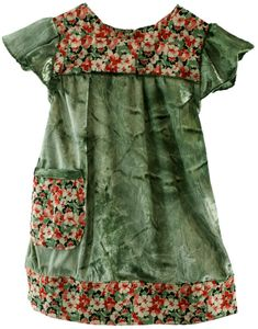 Image of Just ssoooo Divine green velvet dress/ tunic floral trim