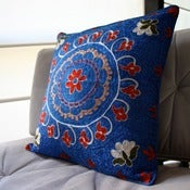 Image of Silk and Cotton Embroidered Uzbek Cushion Cover Bright Blue 44 x 44 cm