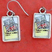 Image of Librarian Library Check Out Card Pocket Earrings