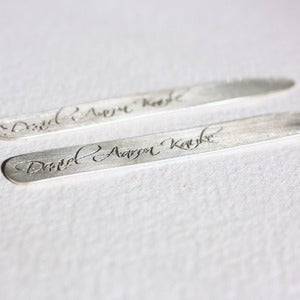Image of custom sterling silver men's collar stays