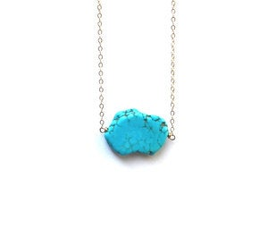 Image of Blue Turquoise Slab Necklace