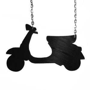 Image of Scooter Necklace/Earrings made from a recycled vinyl record.