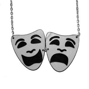 Image of Ltd. Edition Tragedy/Comedy Masks Necklace made from recycled vinyl records.