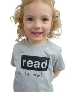 Image of read to me toddler tee, grey/black