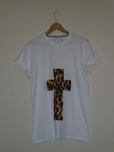 Image of Leopard Print Cross WhiteT Shirt