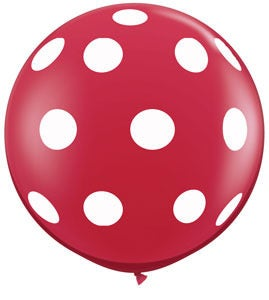 Image of 36&quot; Ruby Red with White Polka Dots