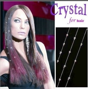 "Image of Austrian Crystal Gem ""Hair Ice"" 15"" Hair Extensions"
