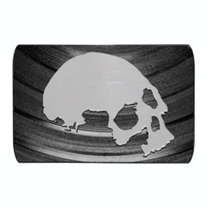 Image of Skull Belt Buckle made from recycled vinyl records.