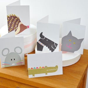 Image of Set of Five Mixed Animal Cards, with stickers