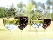 Image of Black and White Bare Tree Wine Glasses-Set of 4
