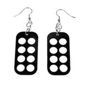 "Image of VLING CLASSIC ""CHECKER"" Earrings made from a recycled vinyl record."