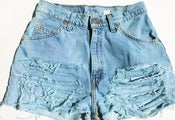 Image of Levi Vintage Aqua Wash Shredded Shorts
