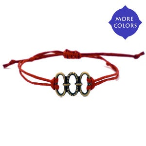 NauticalWheeler — Red String Bracelet with Three Circles CharmRed String Bracelet with Three Circles Charm :  string bracelets crystal necklaces necklaces all earrings all