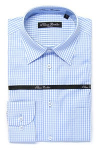 Image of KLAUSS KL11703 L.BLUE PLAID SHIRT