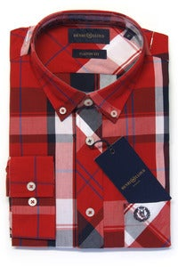 Image of HENRI LLOYD LARNE RED FLANNEL SHIRT