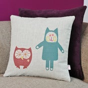 Image of 'Owl & Cat' Cushion