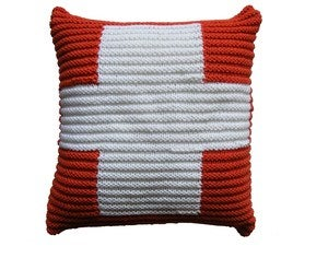 Image of Hand Knit Cushion 40 x 40cm - terracotta cross