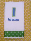 Image of Green Double Letter Embroidered Burp Cloth