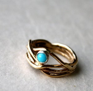 Image of 14 Gold Nest Ring with Turquoise